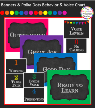 Chalkboard with Banners & Polka Dots Behavior & Voice Level Clip Charts