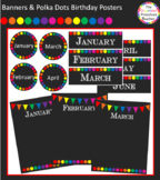 Chalkboard with Banners & Polka Dots Birthday Posters