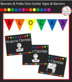 Chalkboard with Banners & Polka Dots Center Signs