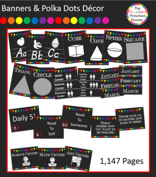 Chalkboard with Banners & Polka Dots Classroom Decor Bundle 1,147 pages!!