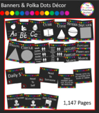Chalkboard with Banners & Polka Dots Classroom Decor Bundl