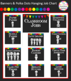 Chalkboard with Banners & Polka Dots Hanging Job Chart