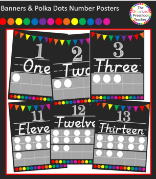 Chalkboard with Banners & Polka Dots Number Posters