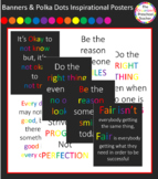 Chalkboard with Banners & Polka Dots Quotes Posters