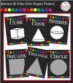 Chalkboard with Banners & Polka Dots Shapes Posters