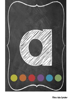Chalkboard with Rainbow dots Lowercase Alphabet Display