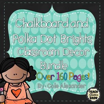 Chalkboard and Polka dot Brights Classroom Decor