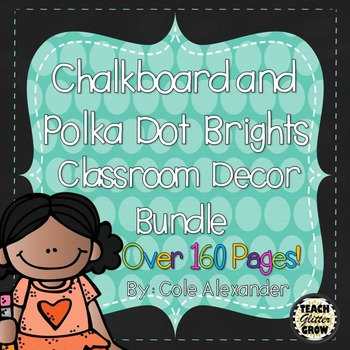 Chalkboard and Polka dot Brights Classroom Decor