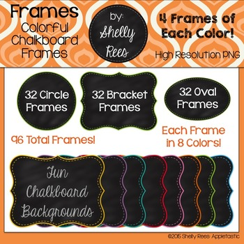 Chalkboard Frames - Colored Borders on Circle, Oval, & Bracket Chalkboard Frames