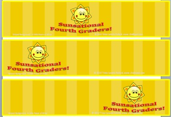 Back to School Desk Tags Set: Sunsational Fourth Graders