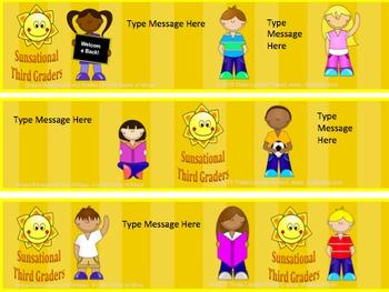 Back to School Desk Tags Set: Sunsational Third Graders