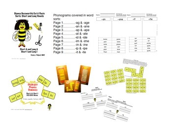 Word Sort Bundle: Cut & Paste Short Vowel Words