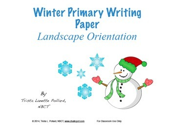 Winter Writing Paper: Primary (Landscape Orientation)