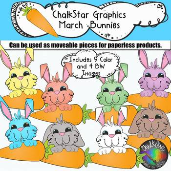 March Bunnies with Carrot Clip Art