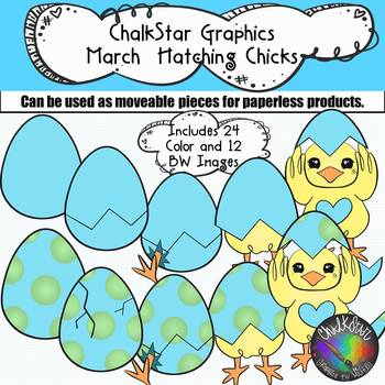 Chalkstar Graphics- March Chicks Hatching from Colorful Eggs Clip Art