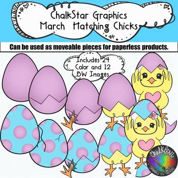 March Chicks Hatching from Colorful Eggs Clip Art
