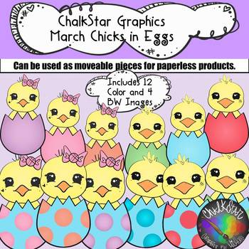 March Chicks Inside Colorful Eggs Clip Art