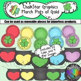 March Colorful Pots of Gold Clip Art