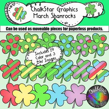 Chalkstar Graphics- March Colorful Shamrocks Clip Art
