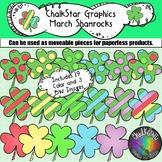 March Colorful Shamrocks Clip Art