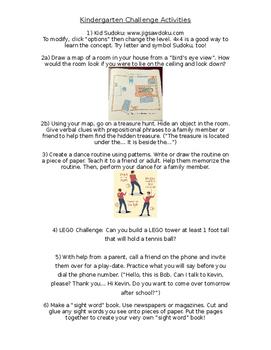 Challenge Activities for Kindergarten