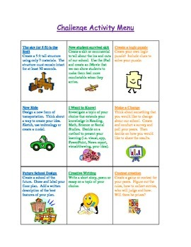Challenge Activity Menu for Fast Finishers