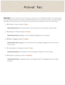 Challenge Analogies Practice