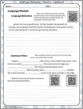 Science, Language, Math Challenge Activities