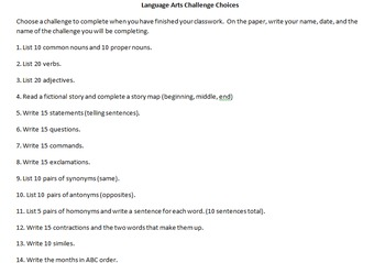 Challenge Choices:  Activities for Early Finishers