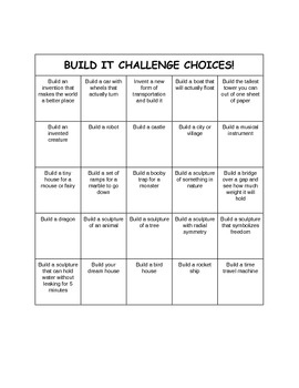 Challenge Choices For Kids That Finish Early (expanded version)
