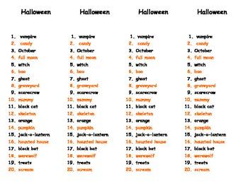 Challenge Halloween Spelling Words