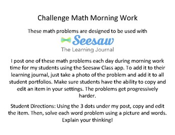 Challenge Math Morning Work