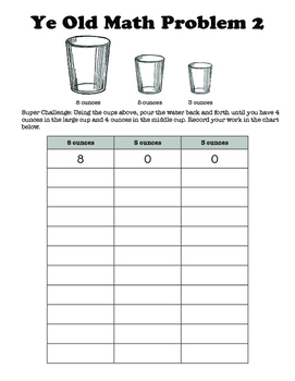 Challenge Math Problems for 3rd grade up: Water Pouring!