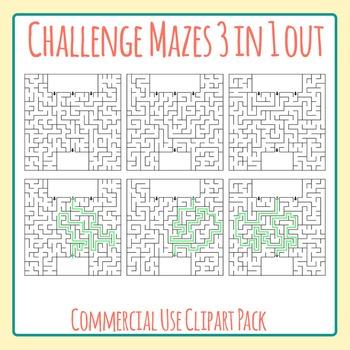 Challenge Maze - Which Path?  3 Entrances 1 Exit.  Hard Mazes Clip Art Set
