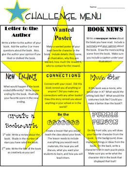 Challenge Menu, Tutorial Ideas, Reading Extension Lessons- Activity Packet