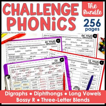 Challenge Phonics BUNDLE - Digraphs, Diphthongs, Long Vowels