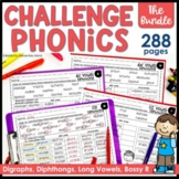 Challenge Phonics BUNDLE Digraphs Vowel Diphthongs Long Vowels worksheets