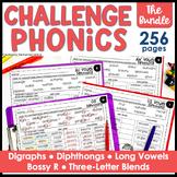 Challenge Phonics BUNDLE Digraphs Vowel Diphthongs Long Vowels worksheets