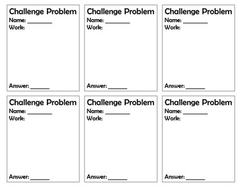 Challenge Problem Slips