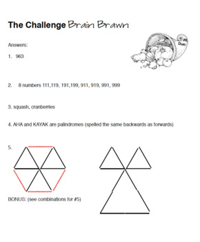 Critical Thinking Brain Challenge Pages