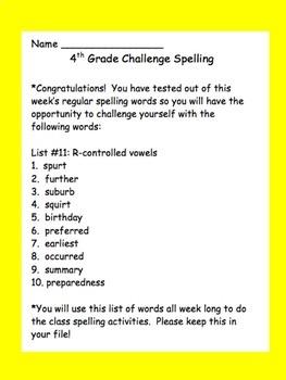 4th Grade Challenge Set of Spelling Lists