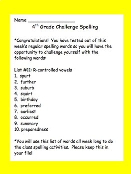 4th Grade Challenge Set of Spelling Lists