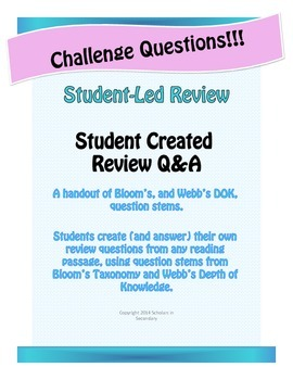 Challenge! Student-Led Review Using Bloom's and Webb's DOK Question Stems