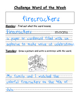 Challenge Word of the Week - Enrichment Vocabulary Words for Primary Grades
