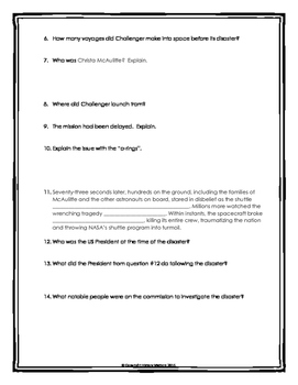 Challenger Disaster - Webquest with Key