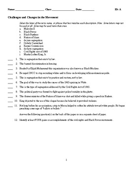 Challenges and Changes in the Movement - (Quiz or Study Guide)
