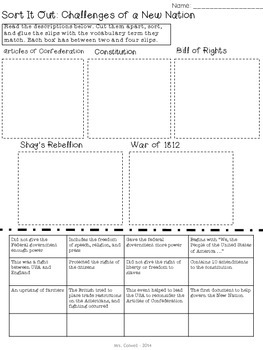 Challenges of a New Nation Vocabulary Sort: Constitution, Bill of Rights