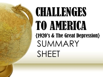 Challenges to America Summary Sheet