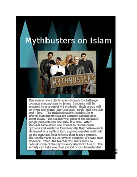 Challenging Assumptions about Islam:  Mythbusters Common Core Group Activity