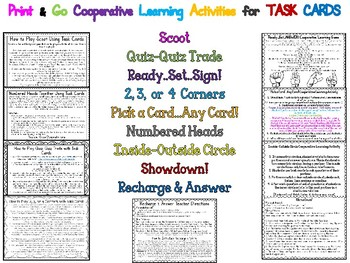 Challenging Context Clues Task Cards PLUS Cooperative Learning Activities
